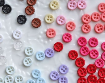 25 50 Tiny Baby Mini 6mm Buttons Mixed Sweet Colour Doll Craft Sewing