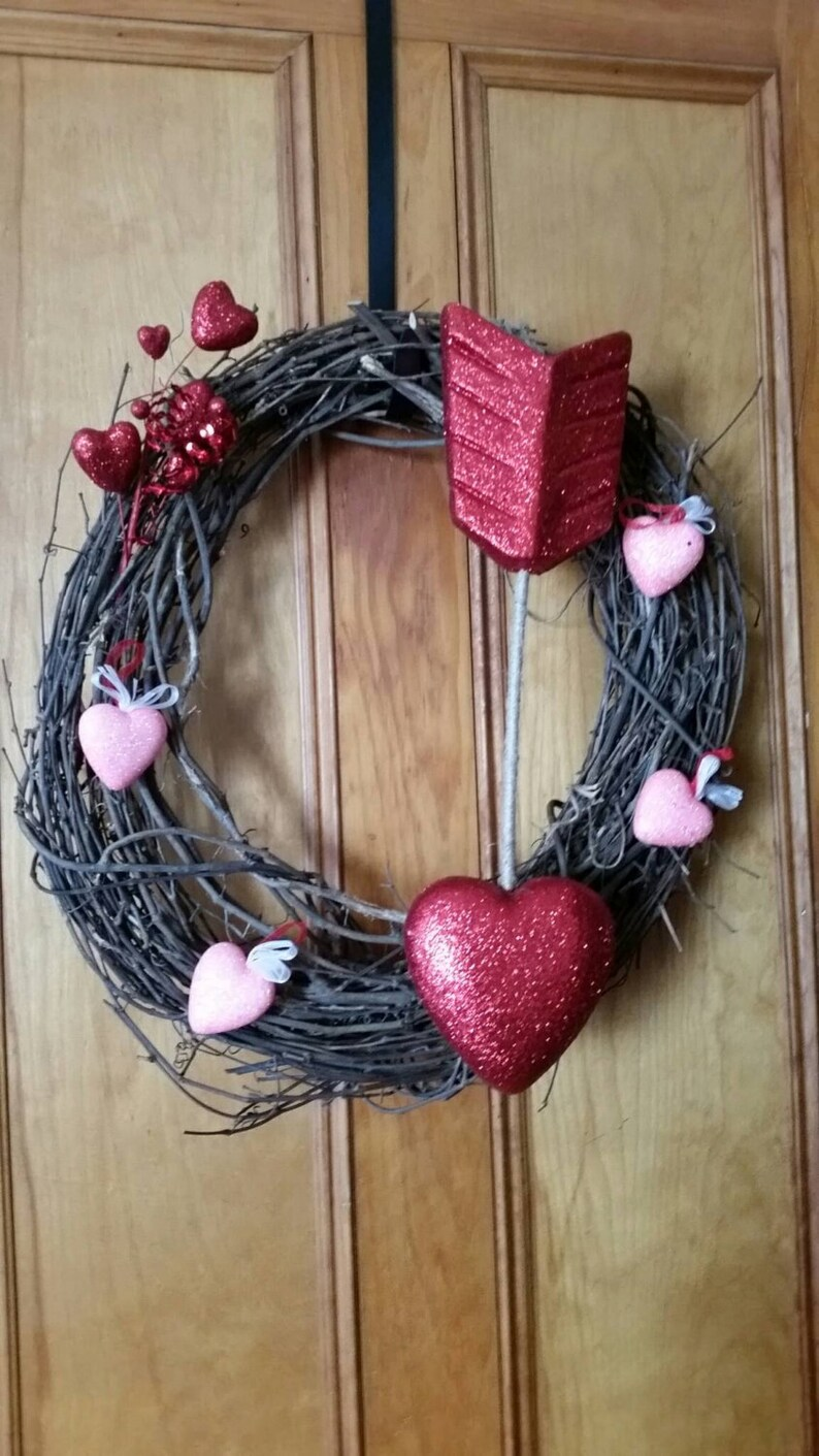 love door decor Valentine/'s day wreath February vday decor