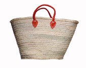 FREE SHIPPING Handmade Moroccan Market Basket, Minimalistic Classic Hot Orange Leather Straps