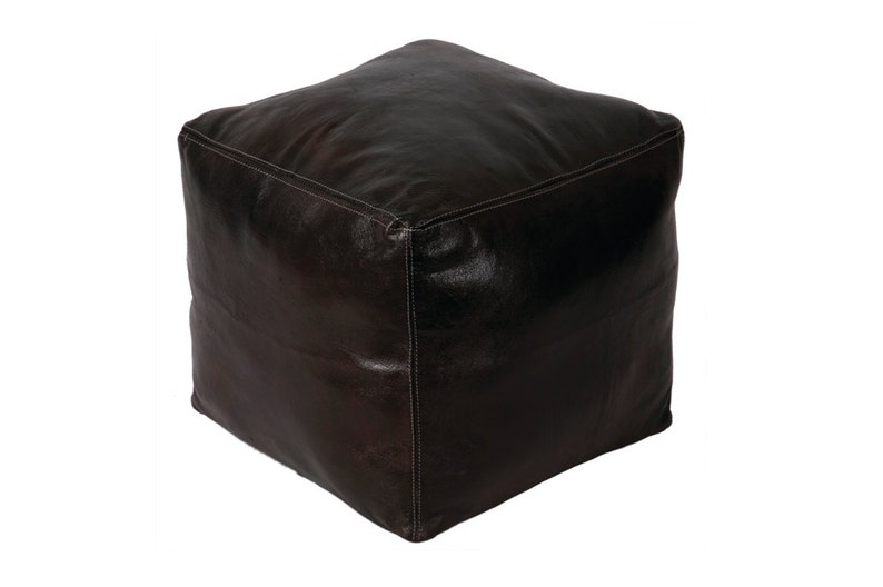 Moroccan Hand-sewn Authentic Black Leather Cube Pouf