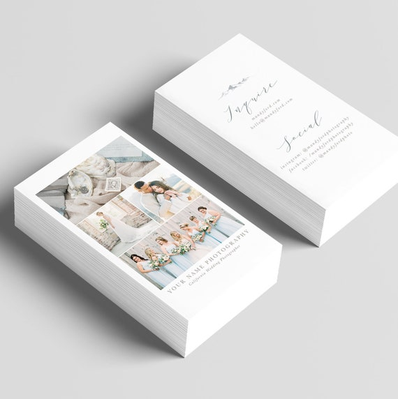 Fine Art Wedding Photography Business Card With Multiple Views Etsy