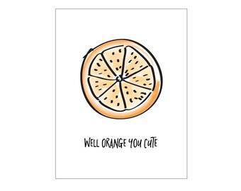 Orange Poster - kitchen print, vegan print, modern print, instant digital download print, fruit print, modern art print, prints, artwork