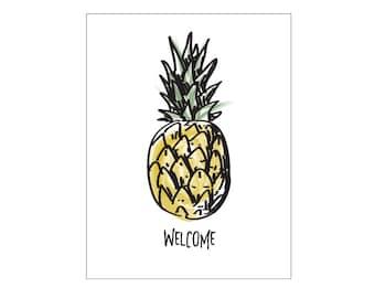 Pineapple Poster - kitchen print, vegan print, welcome print, instant digital download print, fruit print, modern art print, prints, artwork