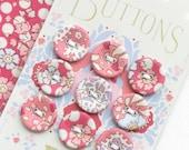 Tilda Plum Garden Fabric Covered Button 17mm 9 Pieces TIL400024 Peach