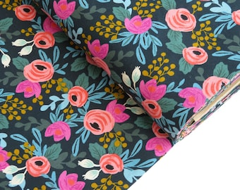 CANVAS Rifle Paper Co. Menagerie Collection - Rosa - Navy Canvas Fabric - AB8012-022 - Cotton + Steel Fabric