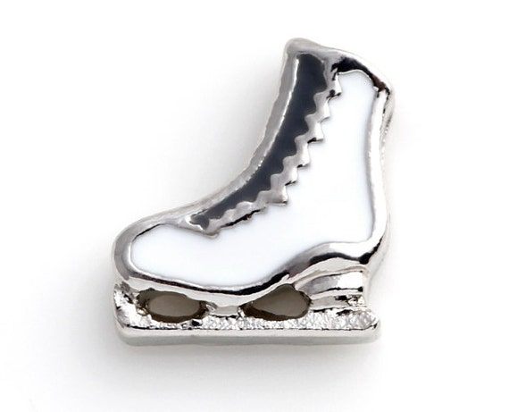 Silver Tone Ice Skating Skate Shoe Floating Charm for Memory Locket