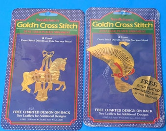 Gold'n cross stich Christmas  ornament ( various styles)