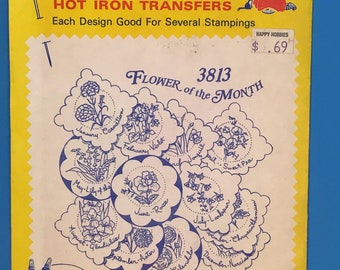 Aunt martha's iorn on transfer: 3813 flower if the month