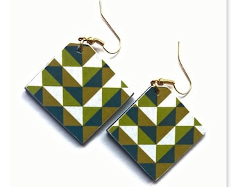 Pair of Khaki, green and beige graphic earrings