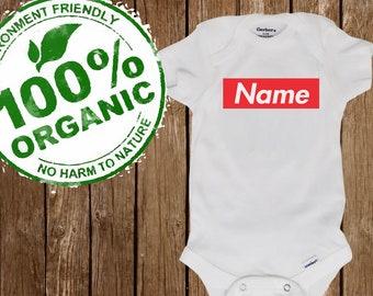 e828831c3af custom SUPREME like ORGANIC take home outfit - eco Friendly name BOX logo  Onesie® (Gerber organic)