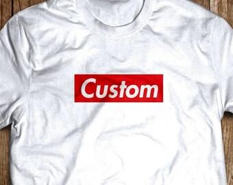 ec2a7714f6c5e Custom your word or name SUPREME like BOX LOGO shirt tee   Etsy