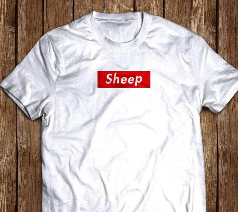 9f0001cd31ec72 SHEEP cool custom supreme like box logo shirt tee White Gray