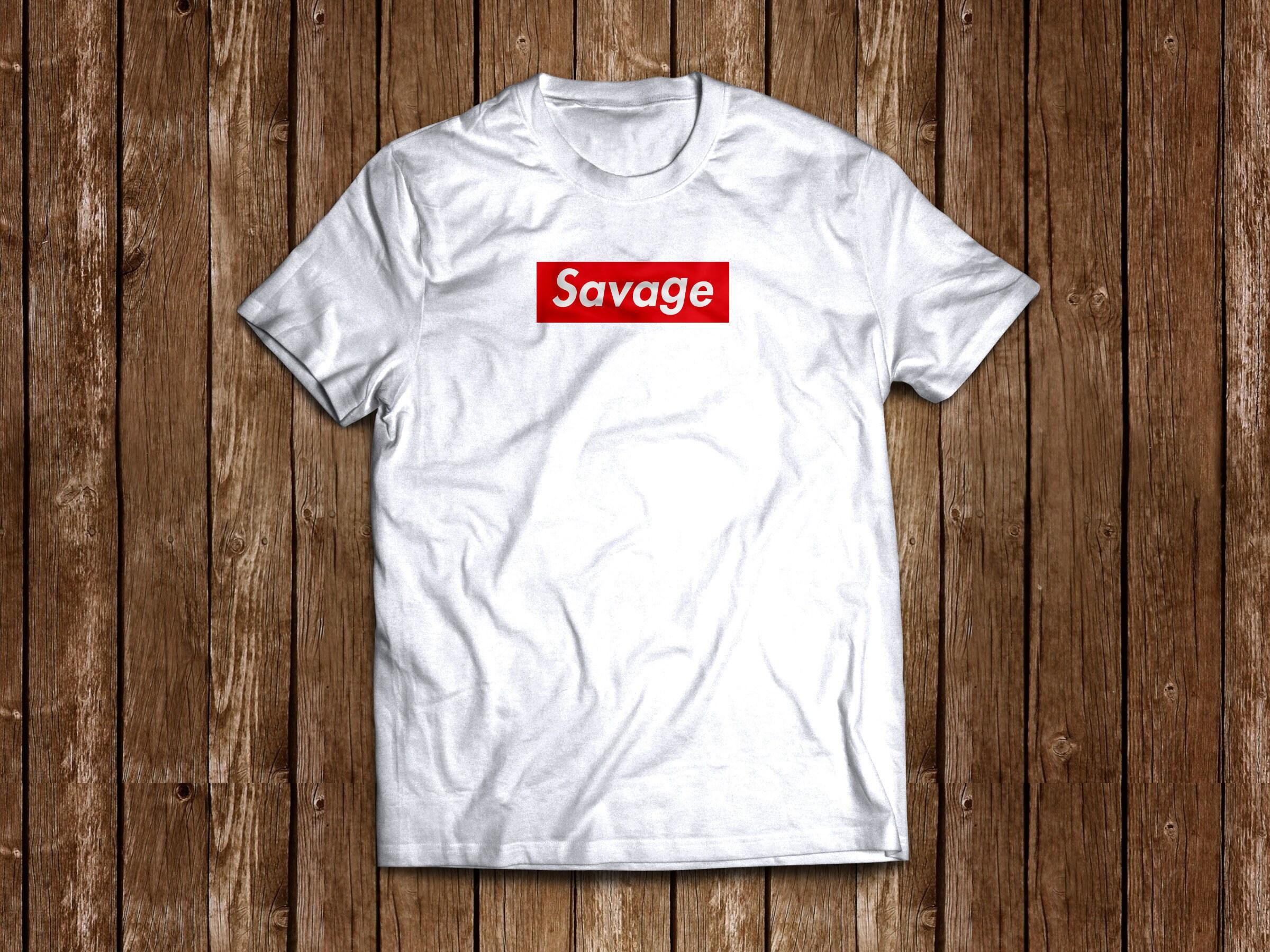 1cd1da52c9eb87 21 SAVAGE custom supreme like box logo shirt tee White Gray
