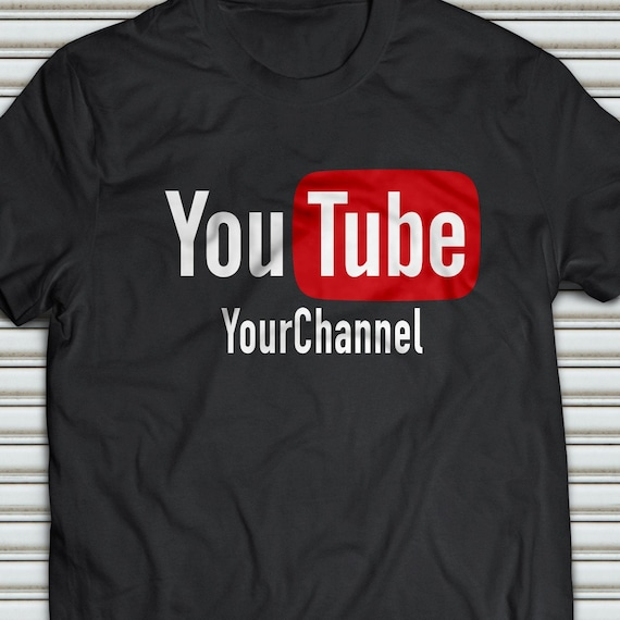 YOUR TEXT CUSTOM YOUTUBE CHANNEL T-shirt  Gray S-5XL White or Black