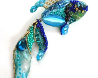 Magic fish-handmade brooch from stones and beads