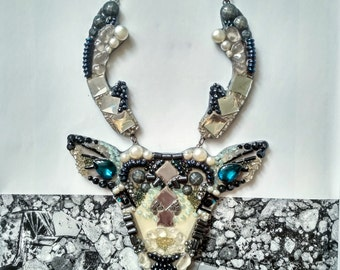 Mirror deer-necklaces handmade from stones and beads