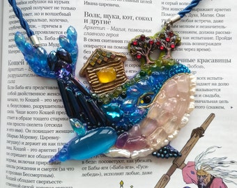 Fish-whale-necklaces handmade from stones and beads