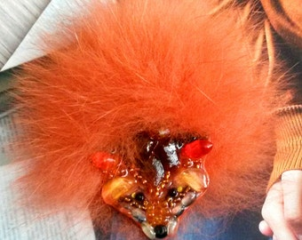 Fox Fur-handmade brooch from stones and beads