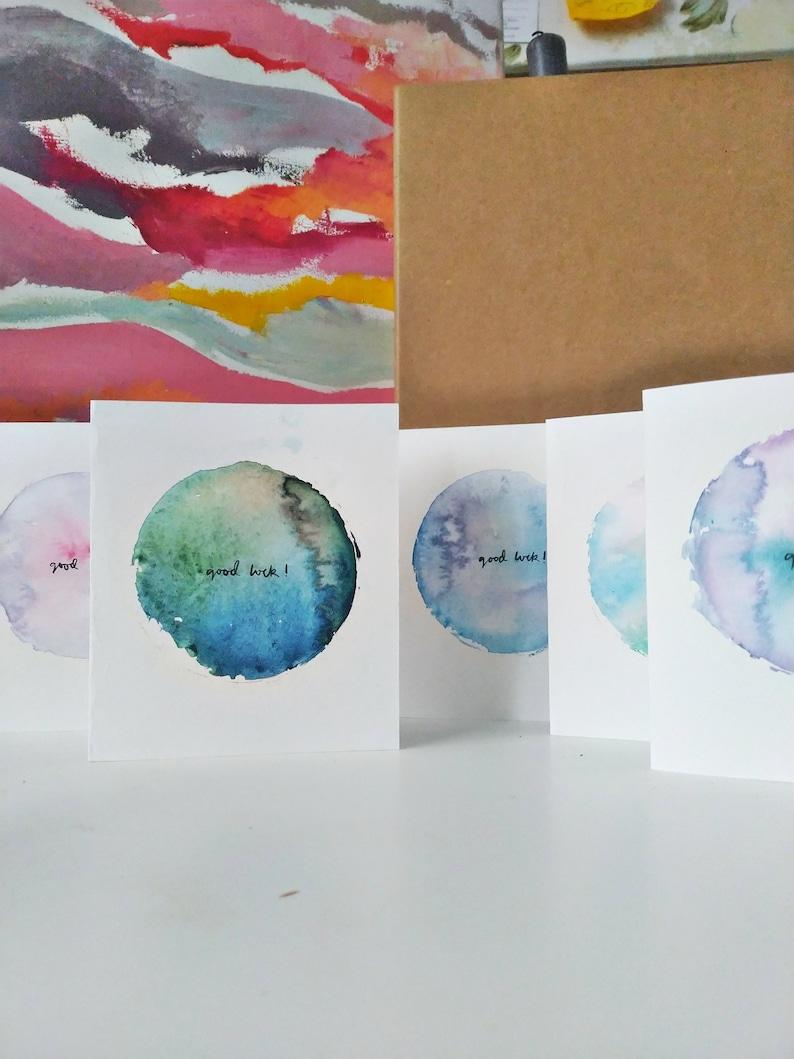 Good Luck Handmade Watercolour Circle Greetings Card Various Colours