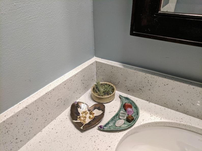 Ceramic Handmade Trinket Tray with Amethyst Gemstone Ring Holder Gift for Her Half Moon Gem Crescent Moon Crystal Jewelry Dish