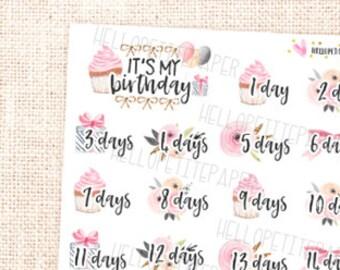 Celebrate Countdown Stickers / Birthday, Anniversary, Events - Planner stickers