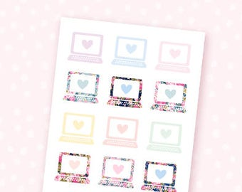 Mini Laptop stickers - 18 floral stickers for the Erin Condren, Personal planners, Travelers notebooks