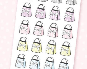 Bow bag stickers - 24 mini stickers