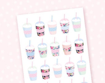 Frappuccino mini sheet - 25 floral stickers for the Erin Condren, Personal planners, Travelers notebooks