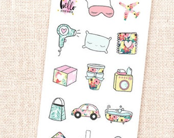 Mini sticker sampler - Hello Summer collection / 14 stickers /for the Erin Condren, Personal planners