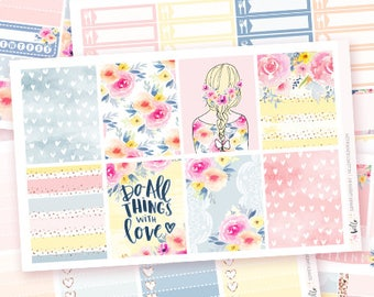 Summer Garden - 6 sheets sticker kit for Erin Condren, Happy Planner