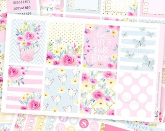 In Full Bloom - Pastel Planner sticker kit / 6 sheets - for Erin Condren, Happy Planner