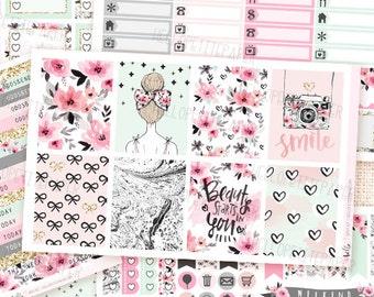 Girly - Planner sticker kit / 6 sheets - Erin Condren, Happy Planner