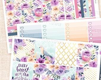 Melody sticker set -  for the Horizontal Erin Condren planner / 3 sheets