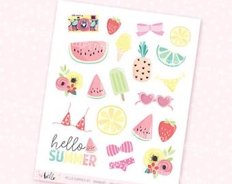 Hello Summer Deco Stickers - 21 decorative planner stickers