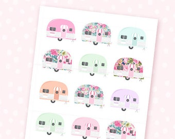 Vintage Campers mini sheet - 18 floral camping outdoors stickers