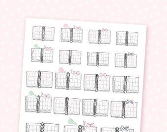EC Girl planner stickers - 19 cute, hand-drawn planner stickers