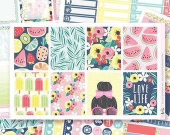 Hello Summer - Planner sticker kit / 6 sheets - for the vertical Erin Condren or Happy Planner