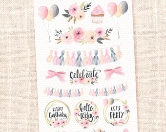 Celebrate - Watercolor deco stickers - party, birthday, anniversary