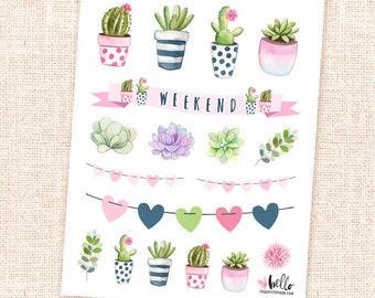 Succulents and cactus -  18 watercolor deco planner stickers / for the erin condren, happy planner, filofax