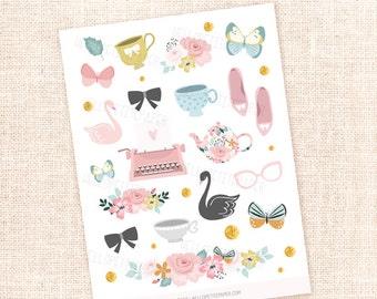 Secret Garden - 20 hand drawn decorative stickers / for the Erin Condren, Personal planners