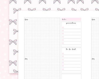 B6 Bow Notebook - DAILY Insert for Travelers Notebooks / B6 size
