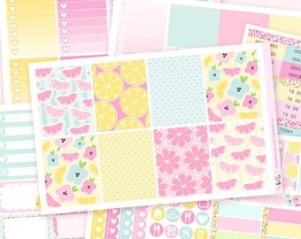 Lemonade - Planner sticker kit / 6 sheets - for the vertical Erin Condren or Happy Planner