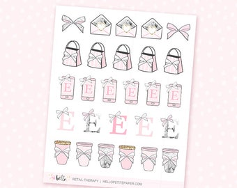 Retail therapy - 27 cute, hand-drawn planner stickers - etsy, shopping, coffee