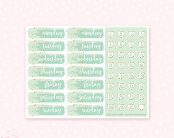 Date Cover Stickers / Mint  Watercolor - 46  planner stickers / for the  Erin Condren Life Planner