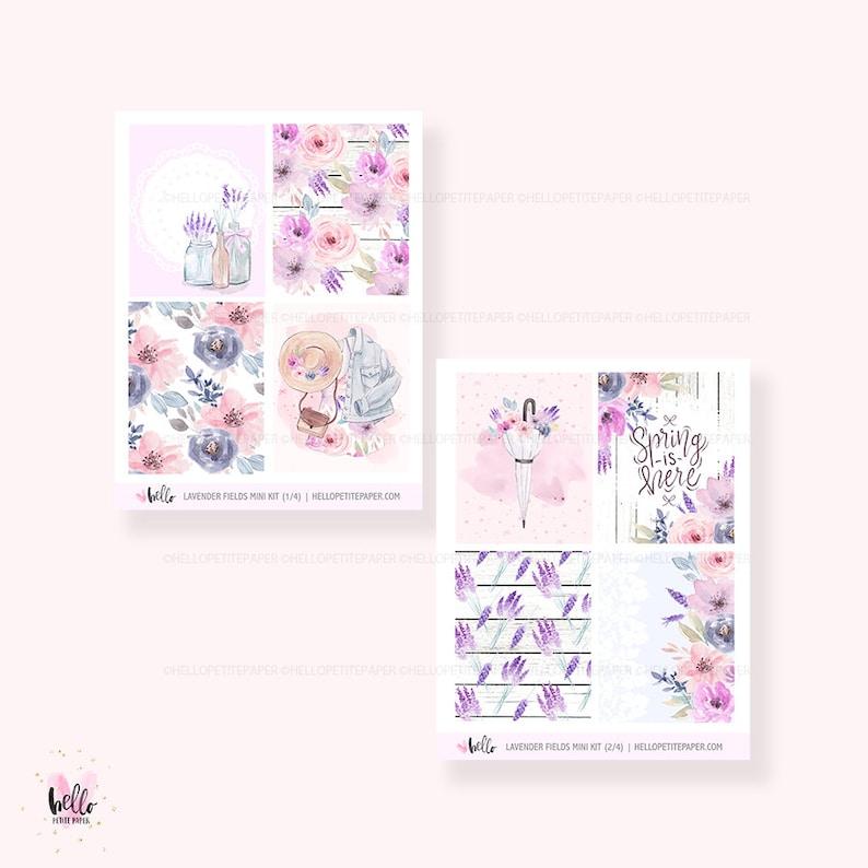 planner stickers Lavender Fields  MINI KIT 4 sheets