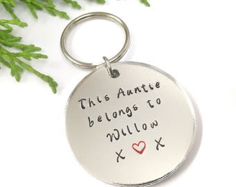 This Auntie Belongs To Keyring Personalised Hand Stamped Keychain Gift Christmas Gifts Birthday For