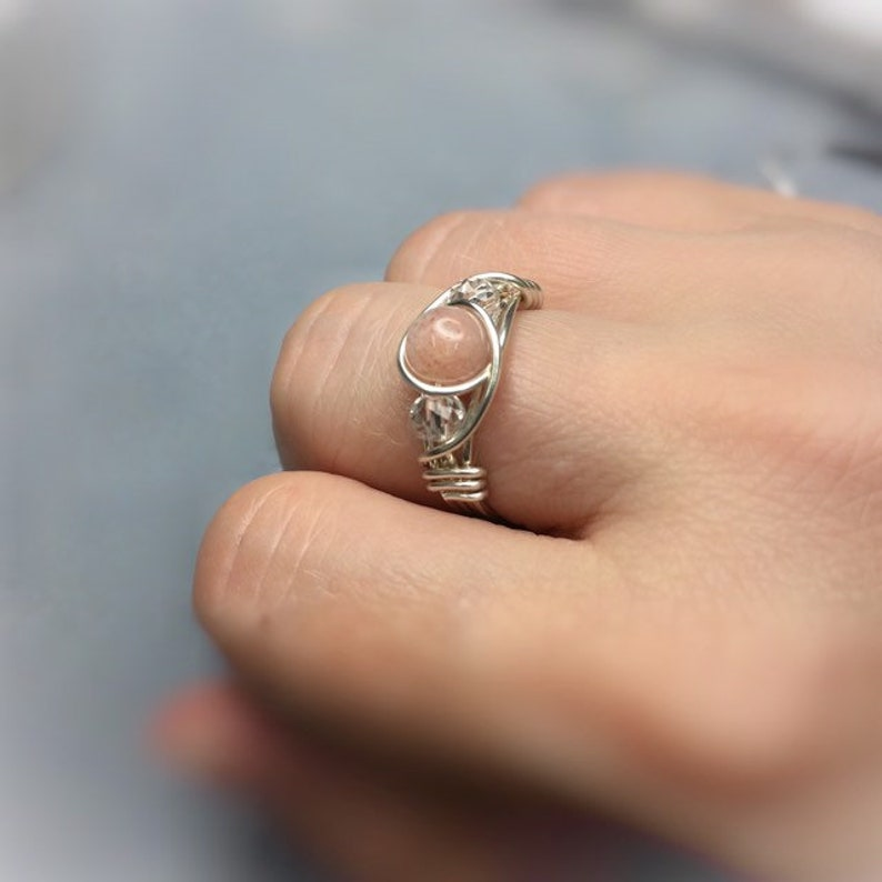pale pink stone ring anxiety awareness stress relief pink moonstone ring wire wrapped ring Libra cancer scorpio zodiac ring
