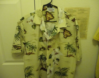 18d1cf0d Vintage Pacific Legend Apparel Aloha men's S/S XL Hawaiian Shirt with  Islands and Palm Trees Made in Hawaii