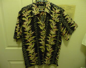 47045ab7 Vintage Bishop Street Aloha Hawaiian Shirt black backgound with great  floral design Dad Wear Alert!!!