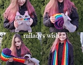 Rainbow Cat Barf Scarf, Nyan Cat, crochet, made to order